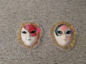 Two Hand-Painted Ceramic Masks for Sale in Overgaard, AZ