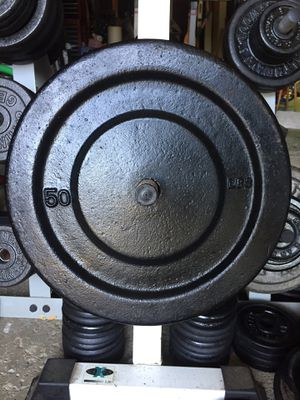 "York 50lb Standard 1"" Hole Iron Weight Plates for Sale in Medina, OH"