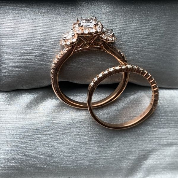 Rose Gold Diamond Wedding Ring And Band