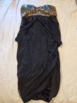 Black chiffon with gold sequin strapless dress for Sale in Vancouver, WA