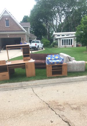 Miscellaneous items free at curb. Desk, couches tv stand for Sale in Wheaton, IL