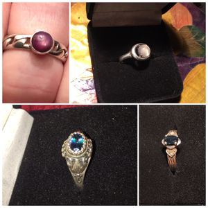 4 sterling silver rings star ruby, moonstone,iolite, topaz size 6 1/4-7 for Sale in Canton, GA