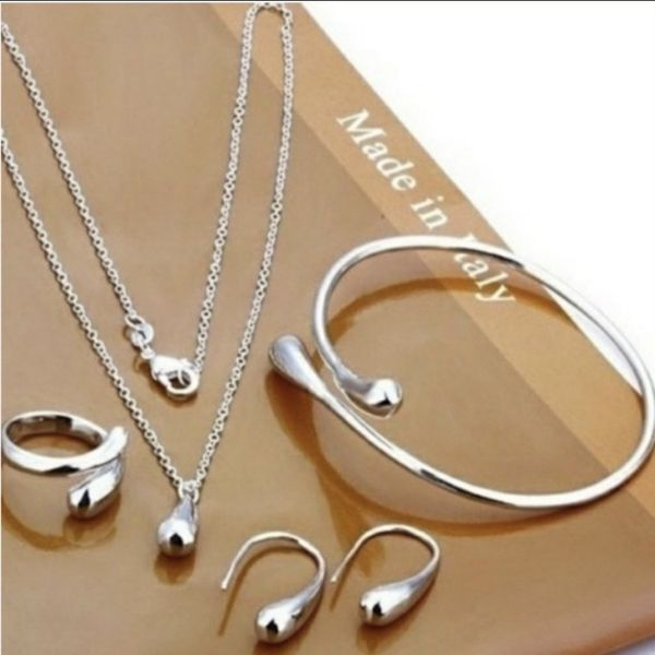 NEW *SET OF 4* 925 STERLING SILVER WATER DROP JEWELRY SET