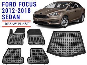 All weather floor mats trunk liner set for Ford Focus sedan 2012-2018 custom fit for Sale in Cleveland, OH
