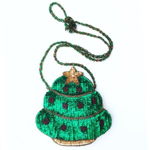 RARE The Quacker Factory Green Sequin Christmas Tree small Purse for Sale in Rancho Cucamonga, CA
