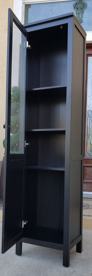 Beautiful Ikea 1 Door Black 4 Tier Tiered Display Bookshelves Bookcases Curio Cubby Cubbies Stand Unit Pantry Bath Kitchen Organizer for Sale in Monterey Park, CA