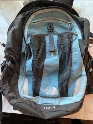 North Face Light Blue and Gray Backpack for Sale in Arlington, VA