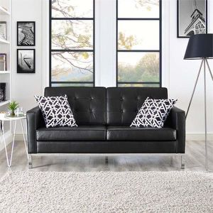 New Black Mid Century Leather Loft Loveseat for Sale in Los Angeles, CA