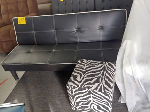Beautiful black and white baseball leather like futon 3 position $199.99 others retail this for $256 for Sale in Phoenix, AZ