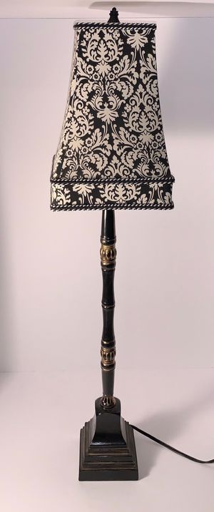 Decor - Stick buffet lamp with black and white damask shade (2 available) for Sale in O'Fallon, MO
