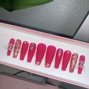 Handmade Gel Press On Nails medium Coffin Length for Sale in Oro Grande, CA