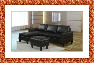 Black sectional free ottoman and delivery for Sale in Rockville, MD