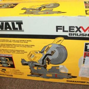 DEWALT FLEXVOLT 120-Volt MAX Lithium-Ion Cordless Brushless 12 in. Sliding Miter Saw w/ AC Adapter, (2) Batteries 2Ah & Charger for Sale in Oakland, CA
