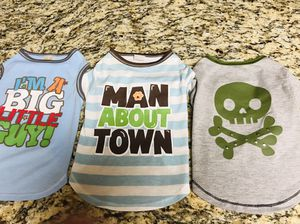 Dog clothes 3 T-Shirts Boy Size M Handsome Pete Used for Sale in Destin, FL