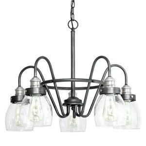Crofton 5-Light Rustic Pewter Chandelier with Brushed Nickel Accents and Clear Seeded Glass for Sale in Las Vegas, NV