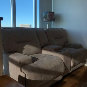 Two Double And One Single Beige/ Mocha Reclining Sofa - Comfortable With Best Quality for Sale in Newport Beach, CA