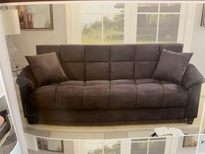 Gray Futon bed with storage . Only $449. We offer easy finance not credit check available for Sale in Las Vegas, NV