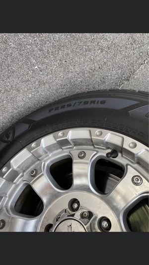P 225/75R16 firestone tires and MB chrome wheels for Sale in Hixson, TN
