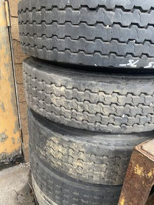 (4) Low boid trailer tires mounted on rim open face 4 for Sale in Boothwyn, PA