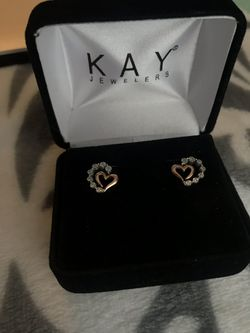 Kay - Diamond Earrings 1/20 ct tw Round-Cut Sterling Silver/10K Gold for Sale in Nashville,  TN