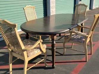 Oval Extendable Dining Table Vintage Mid Century Rattan Wicker Arm Chairs for Sale in Whittier,  CA