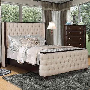 BEIGE UPHOLSTERED QUEEN BED FRAME ! MATTRESS IS NOT INCLUDED for Sale in Clifton, NJ