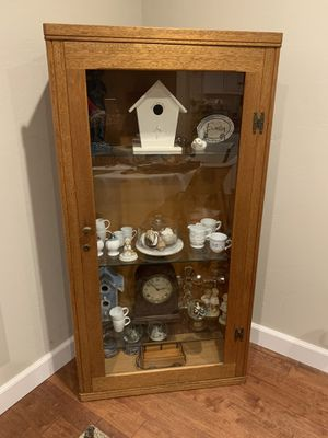Antique oak previous gun case converted to curio cabinet with glass shelves excellent condition for Sale in Torrance, CA