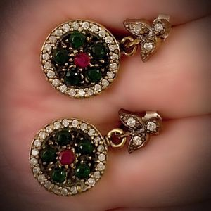 PIGEON BLOOD RED RUBY EMERALD FINE ART EARRINGS Solid 925 Sterling Silver/Gold WOW! Brilliant Facet Round Cut Gems, Diamond Topaz M5148 V for Sale in San Diego, CA