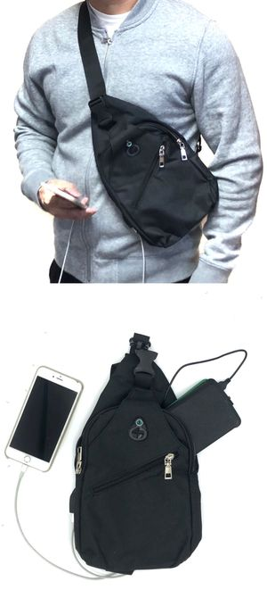 NEW! USB port Side Bag Crossbody bag chest bag sling pouch camping hiking day pack cell phone carrier wallet edc backpack travel bag for Sale in Long Beach, CA