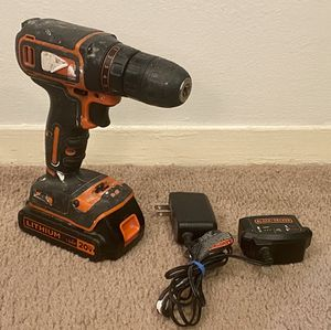 WORKING BLACK+DECKER LITHIUM 1.5AH 20-VOLT MAX CORDLESS DRILL WITH CHARGER & BATTERY INCLUDED for Sale in Raleigh, NC