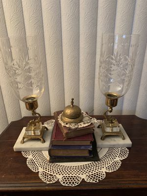 Gorgeous Antique Crystal, Marble, Brass and Lucite Candelabra Hurricane Sconces for Sale in Sanford, FL