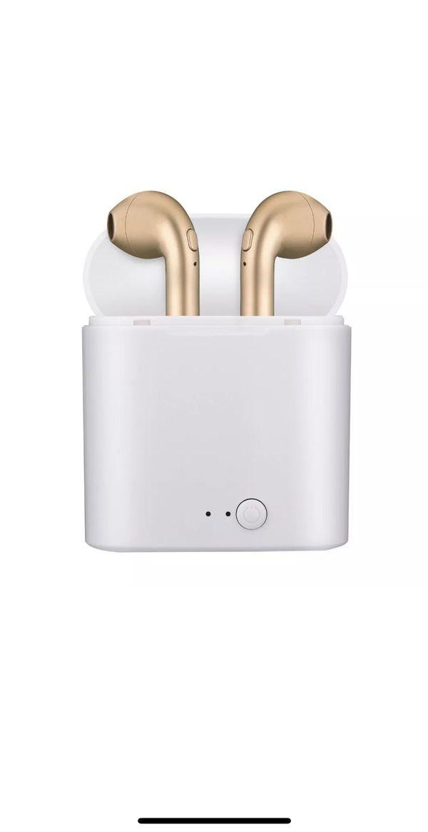 Gold Bluetooth wireless headphones earbuds audifonos