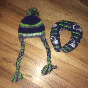 Crochet winter hat and neck pillow Seahawks for Sale in Vancouver, WA