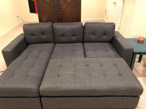 Brand New Grey Linen Sectional Sofa Couch + Ottoman for Sale in Wheaton-Glenmont, MD
