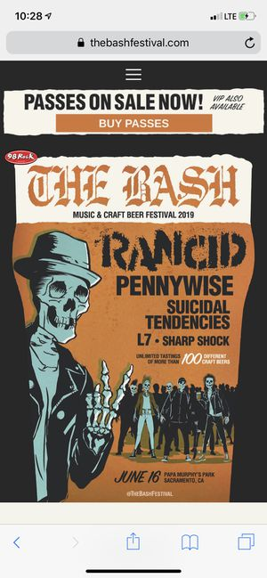 Two vip tickets for the bash music and brew fest in sac for Sale in Chico, CA