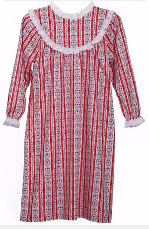 Lanz of Salzburg Flannel Nightgown RED HEARTS Tyrolean Print girls xs 4/5 NEW for Sale in Escondido, CA