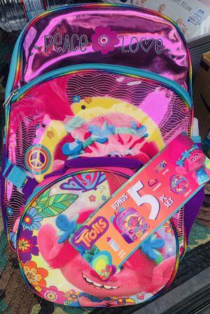 Brand New Trolls backpack 5 piece set FREE Trolls diary for Sale in Huntington Beach, CA