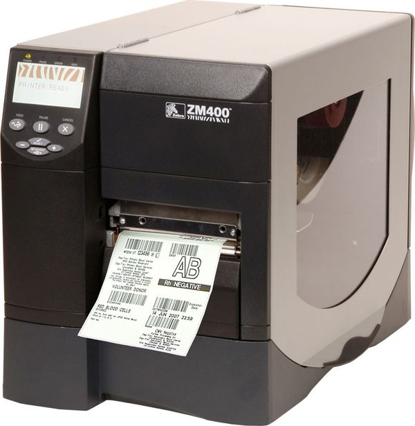 Zebra ZM400 heavy duty thermal printer with a pack of 2000 labels.