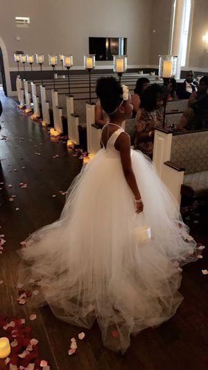 Bridal: Custom all white tulle flower girl dress for Sale in Frisco, TX