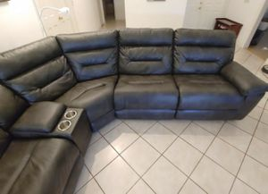 RECLINING SECTIONAL sofa/couch with 2 electric recliners + cup holders with storage with charging station and USB VERY GOOD CONDITION for Sale in Fort Lauderdale, FL