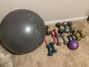 Dumbbells, medicine ball, and ball for Sale in Ashburn, VA