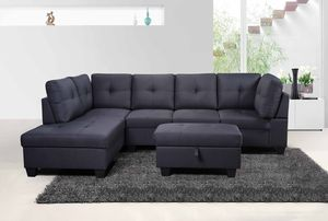 Grey sectional with ottoman has storage ( New ) for Sale in San Mateo, CA