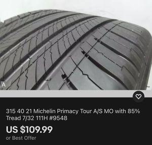 315 40 21 Michelin Primacy Tour A/S MO with 85% Tread 7/32 111H #9548 for Sale in Miami, FL