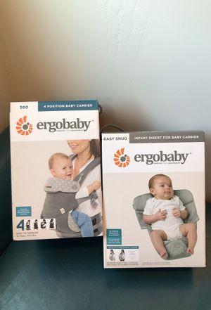 Ergobaby 360 4 Position Baby Carrier & Easy Snug Infant Insert for Sale in Glendale, AZ