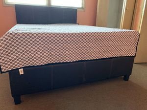 Like new bed frame with Foam mattress and box spring Queen for Sale in Chicago, IL