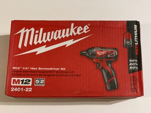Milwaukee M12 12-Volt Lithium-Ion Cordless 1/4 in. Hex Screwdriver Kit 2401-22 for Sale in Garden Grove, CA