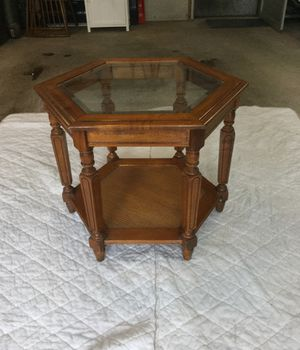 Glass top six sided table for Sale in Sudbury, MA