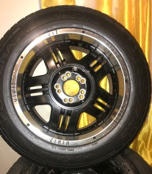 black 18inch rims stainless steel lips good rubber for Sale in Columbus, OH