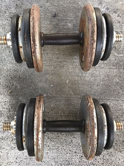 35lb Dumbbells Dumb Bells Weights Weight Set Plates Curl Bar Gym Equipment Workout Machines Elliptical Treadmills Olympic Bar Bench Press Leg Press for Sale in Lake Forest,  CA