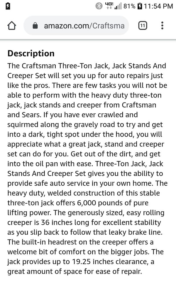 Craftsman 3Ton Floor Jack & Stands